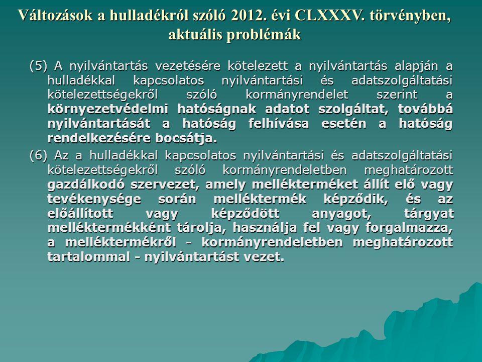 Változások a hulladékról szóló 2012. évi CLXXXV