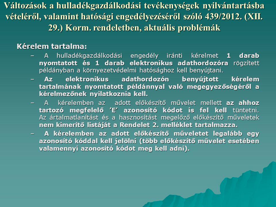 Változások a hulladékgazdálkodási tevékenységek nyilvántartásba vételéről, valamint hatósági engedélyezéséről szóló 439/2012. (XII. 29.) Korm. rendeletben, aktuális problémák