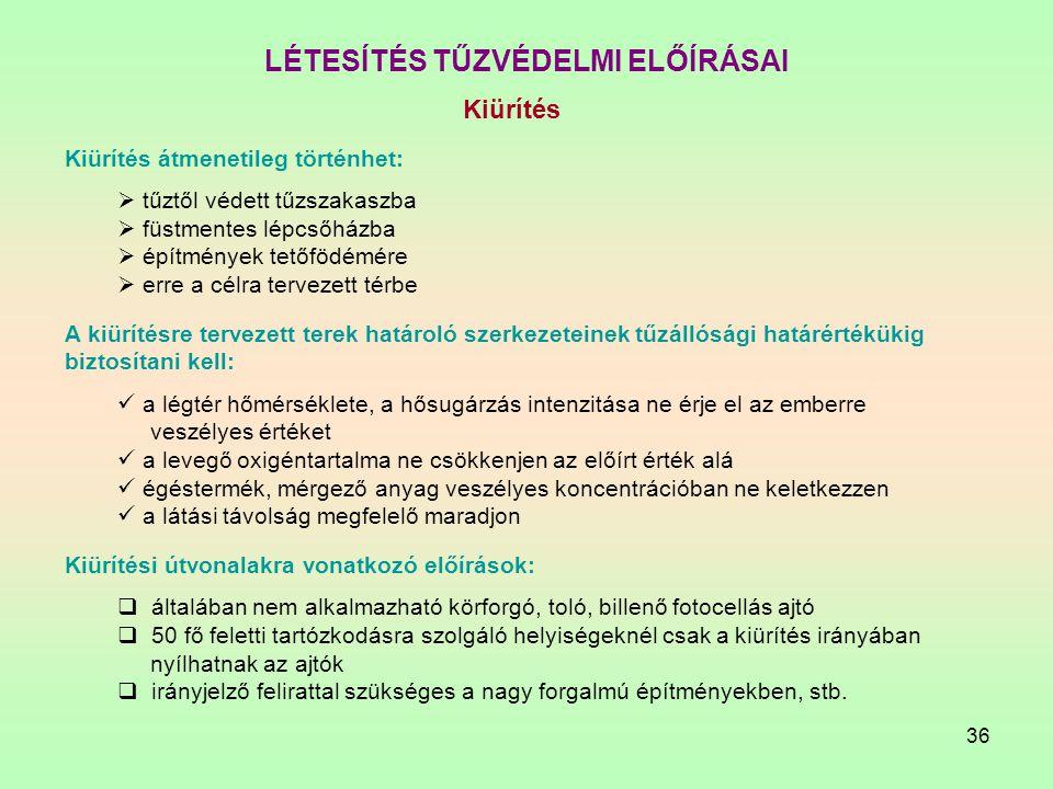 LÉTESÍTÉS TŰZVÉDELMI ELŐÍRÁSAI