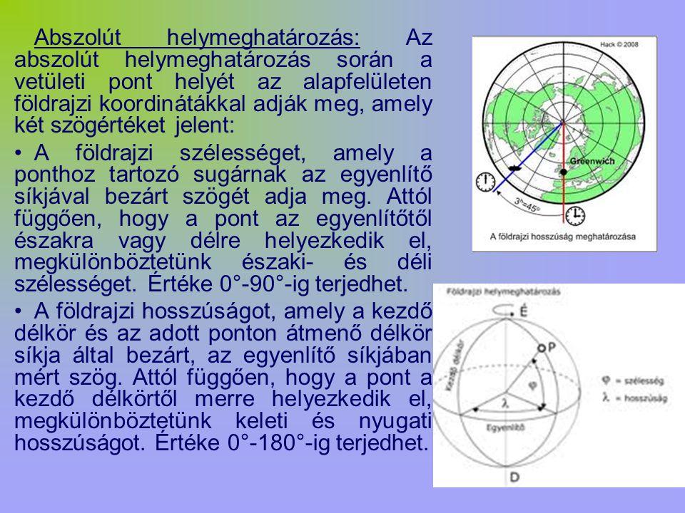 Abszolút helymeghatározás: Az abszolút helymeghatározás során a vetületi pont helyét az alapfelületen földrajzi koordinátákkal adják meg, amely két szögértéket jelent: