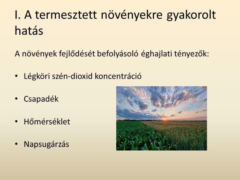 I. A termesztett növényekre gyakorolt hatás