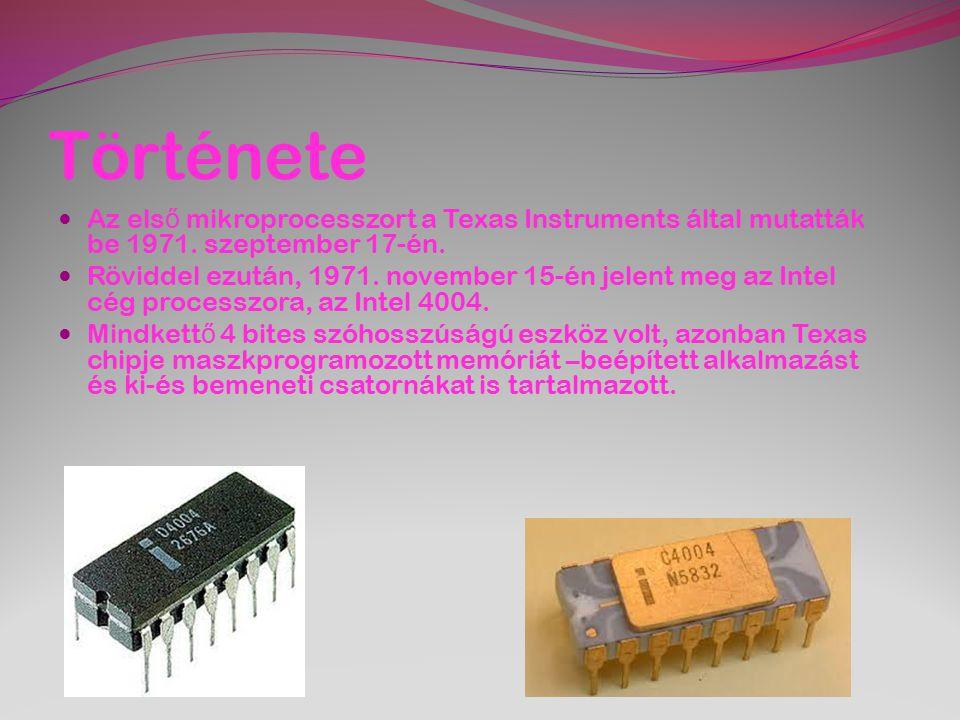 Története Az első mikroprocesszort a Texas Instruments által mutatták be 1971. szeptember 17-én.