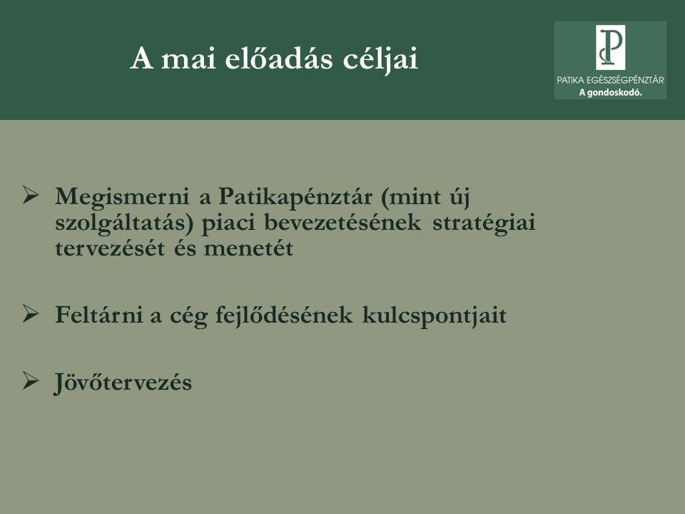 A mai előadás céljai Megismerni a Patikapénztár (mint új szolgáltatás) piaci bevezetésének stratégiai tervezését és menetét.