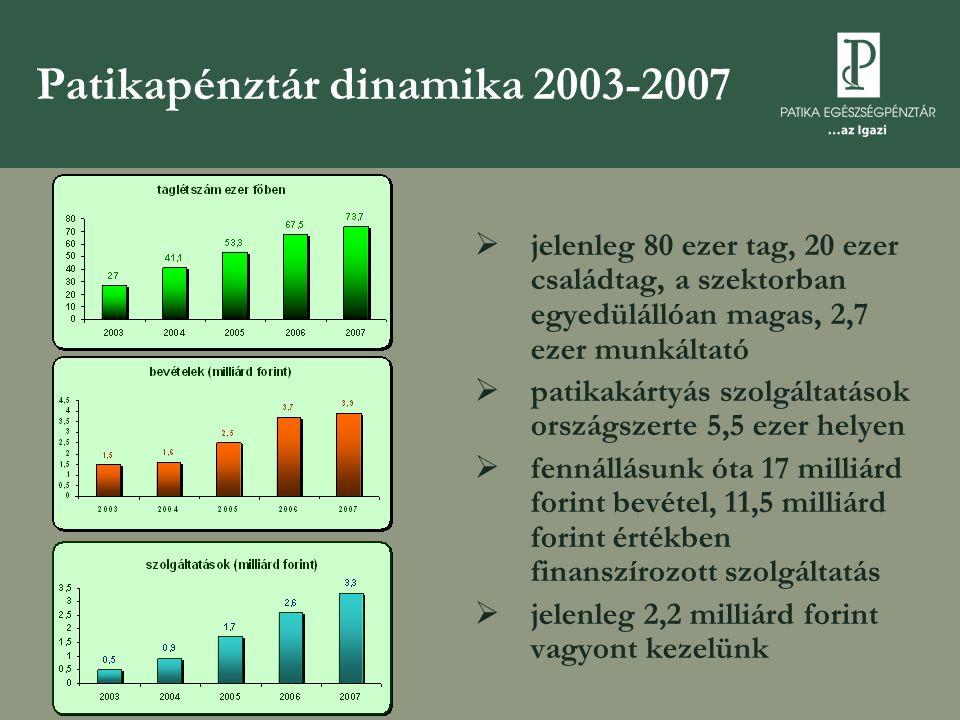 Patikapénztár dinamika 2003-2007