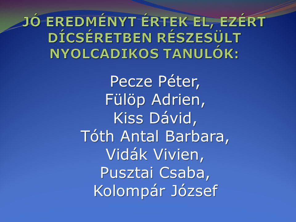 Pecze Péter, Fülöp Adrien, Kiss Dávid, Tóth Antal Barbara,