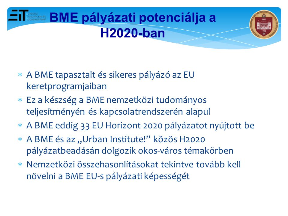 BME pályázati potenciálja a H2020-ban