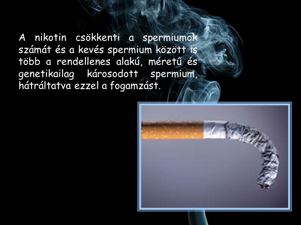 A nikotin csökkenti a spermiumok számát és a kevés spermium között is több a rendellenes alakú, méretű és genetikailag károsodott spermium, hátráltatva ezzel a fogamzást.