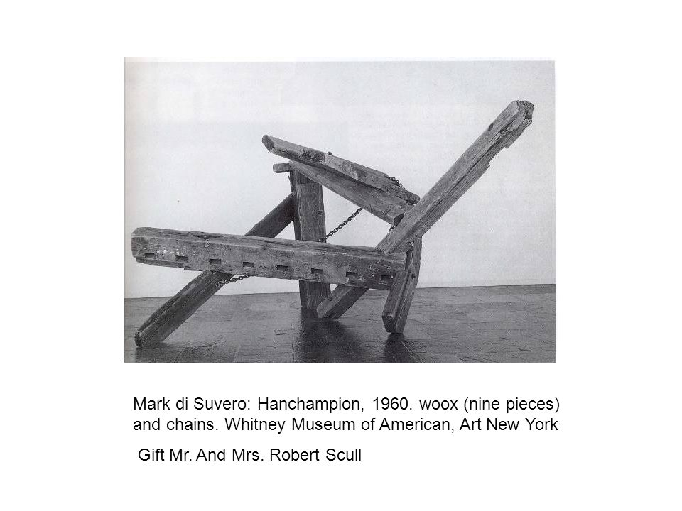 Mark di Suvero: Hanchampion, 1960. woox (nine pieces) and chains