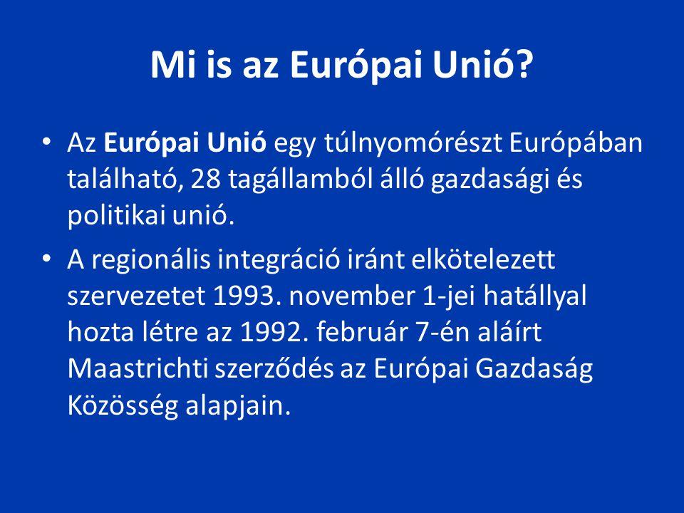Mi is az Európai Unió Az Európai Unió egy túlnyomórészt Európában található, 28 tagállamból álló gazdasági és politikai unió.