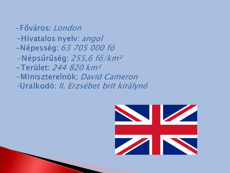 –Hivatalos nyelv: angol –Népesség: 63 705 000 fő