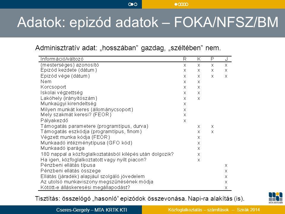 Adatok: epizód adatok – FOKA/NFSZ/BM