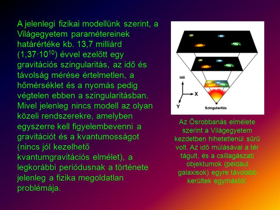 A jelenlegi fizikai modellünk szerint, a Világegyetem paramétereinek határértéke kb. 13,7 milliárd (1,37·1010) évvel ezelőtt egy gravitációs szingularitás, az idő és távolság mérése értelmetlen, a hőmérséklet és a nyomás pedig végtelen ebben a szingularitásban. Mivel jelenleg nincs modell az olyan közeli rendszerekre, amelyben egyszerre kell figyelembevenni a gravitációt és a kvantumosságot (nincs jól kezelhető kvantumgravitációs elmélet), a legkorábbi periódusnak a története jelenleg a fizika megoldatlan problémája.