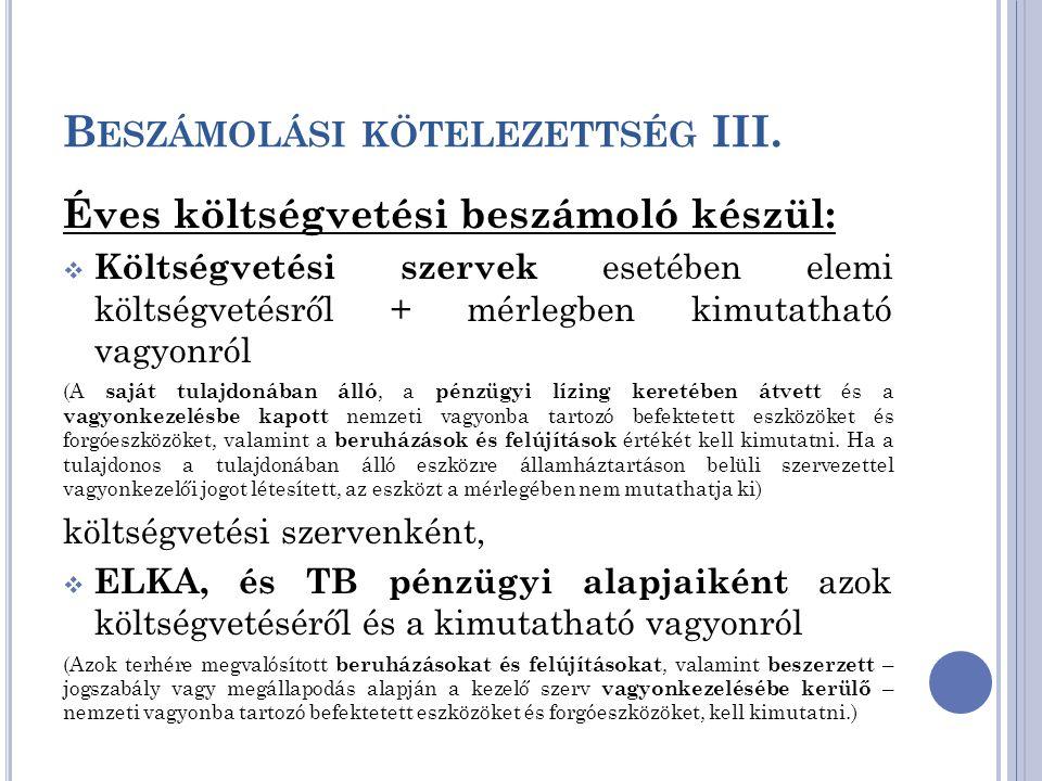 Beszámolási kötelezettség III.