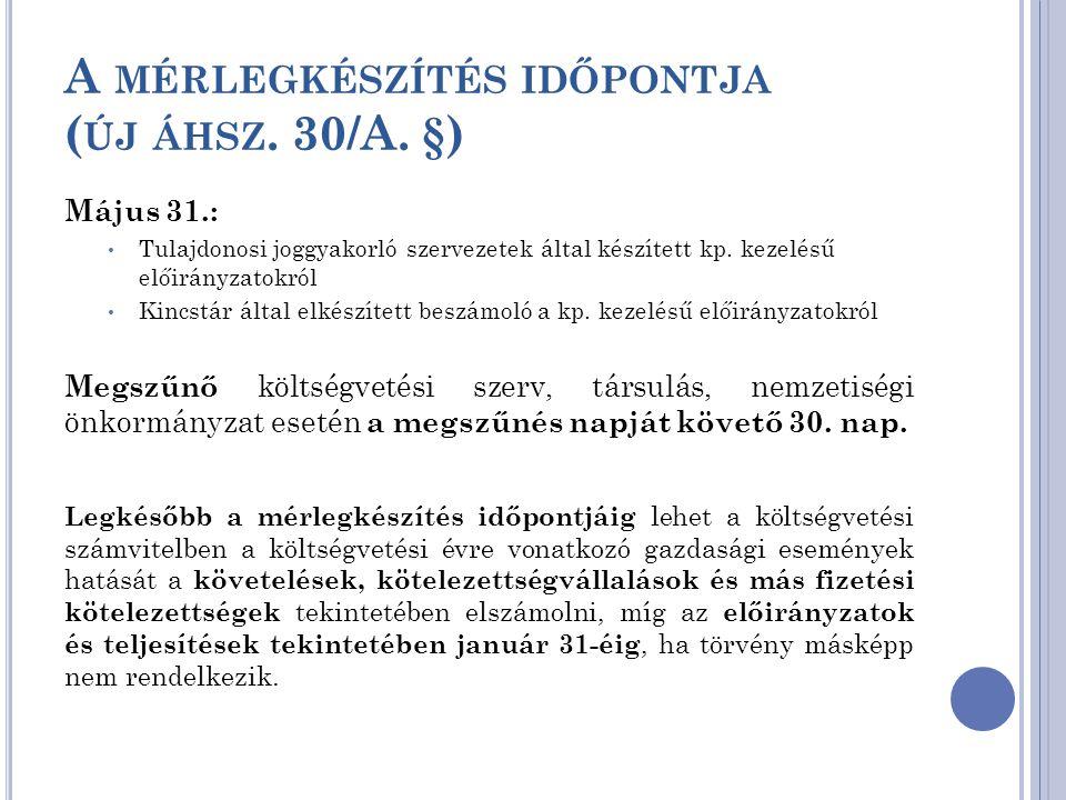 A mérlegkészítés időpontja (új áhsz. 30/A. §)