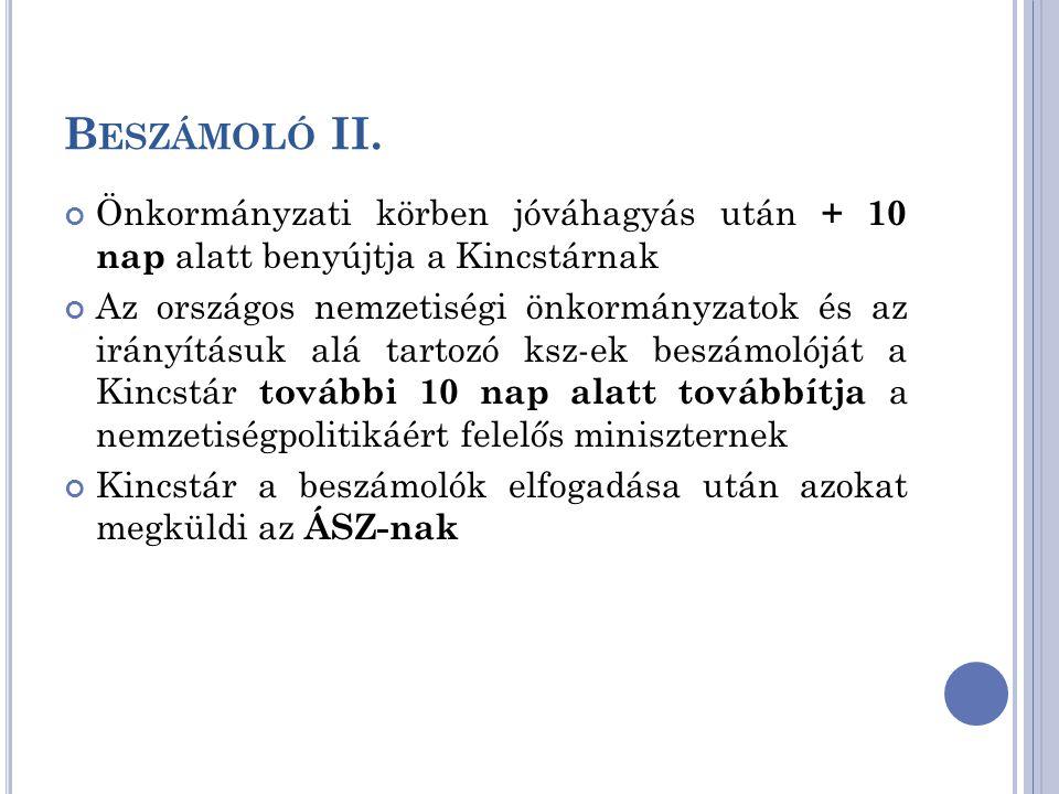 Beszámoló II. Önkormányzati körben jóváhagyás után + 10 nap alatt benyújtja a Kincstárnak.