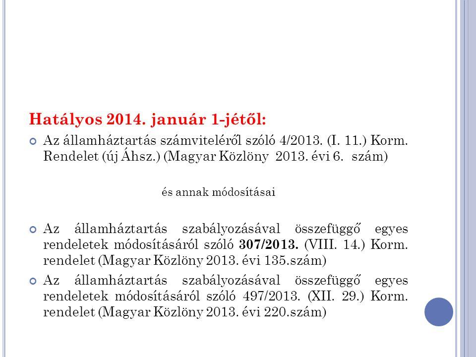 Hatályos 2014. január 1-jétől: