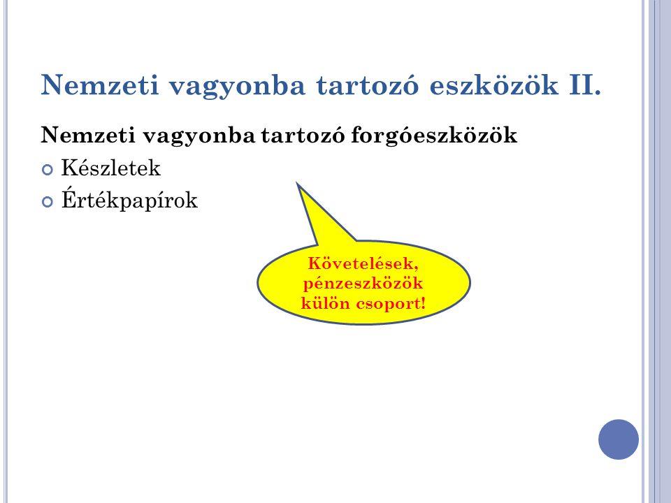 Nemzeti vagyonba tartozó eszközök II.