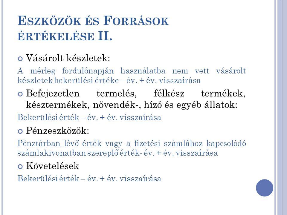Eszközök és Források értékelése II.