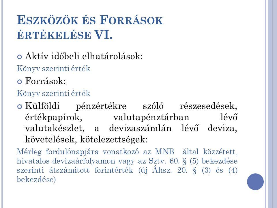 Eszközök és Források értékelése VI.