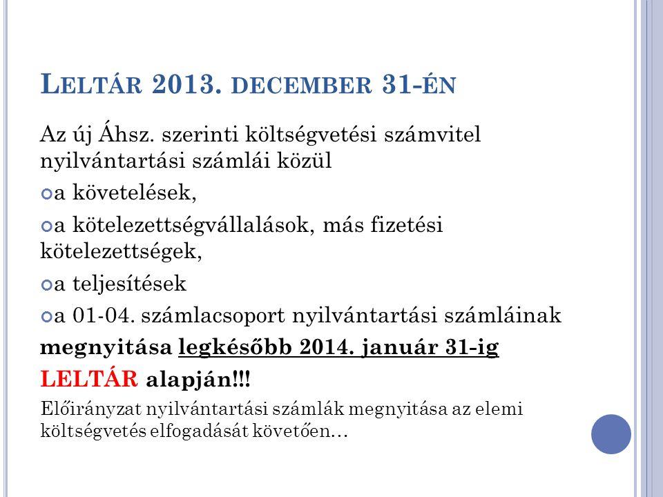 Leltár 2013. december 31-én Az új Áhsz. szerinti költségvetési számvitel nyilvántartási számlái közül.