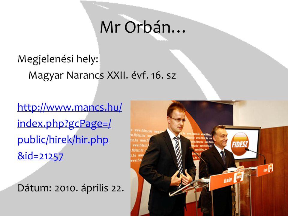 Mr Orbán…