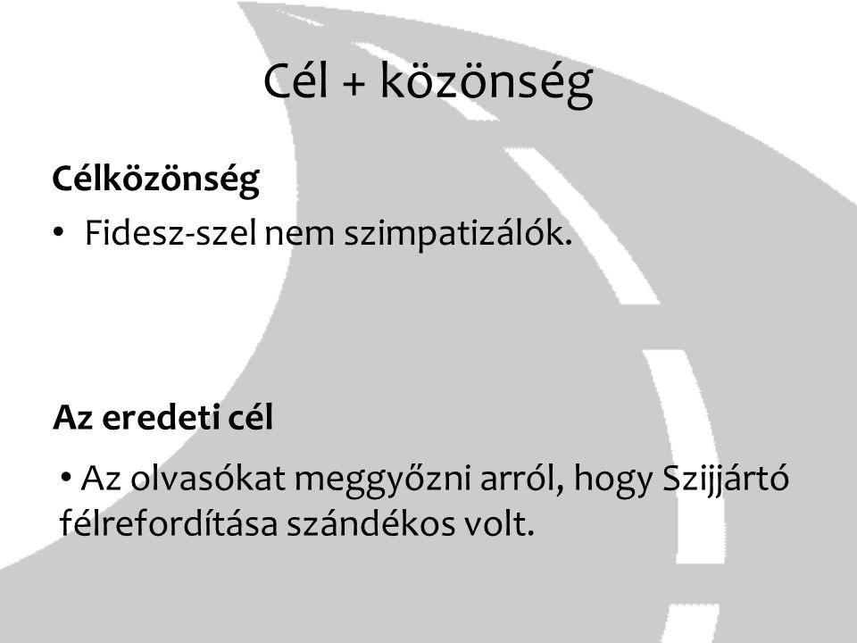 Cél + közönség Célközönség Fidesz-szel nem szimpatizálók.