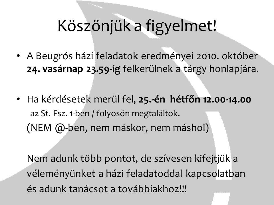 Köszönjük a figyelmet! A Beugrós házi feladatok eredményei 2010. október 24. vasárnap 23.59-ig felkerülnek a tárgy honlapjára.