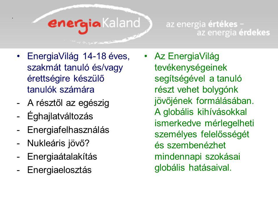 EnergiaVilág 14-18 éves, szakmát tanuló és/vagy érettségire készülő tanulók számára