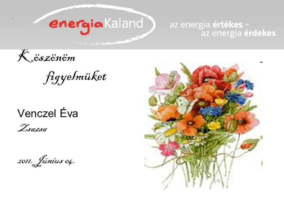 Köszönöm figyelmüket Venczel Éva Zsazsa 2011. Június 04.
