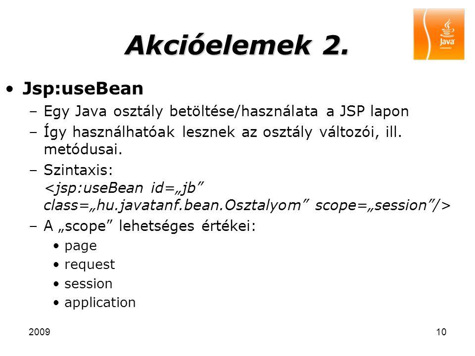 Akcióelemek 2. Jsp:useBean