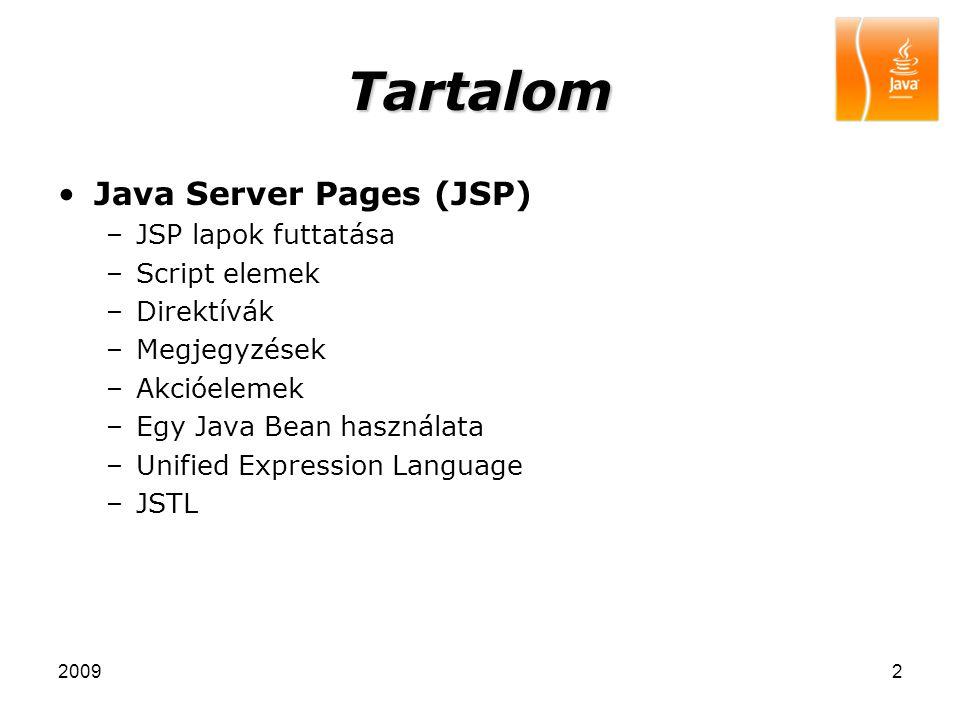 Tartalom Java Server Pages (JSP) JSP lapok futtatása Script elemek