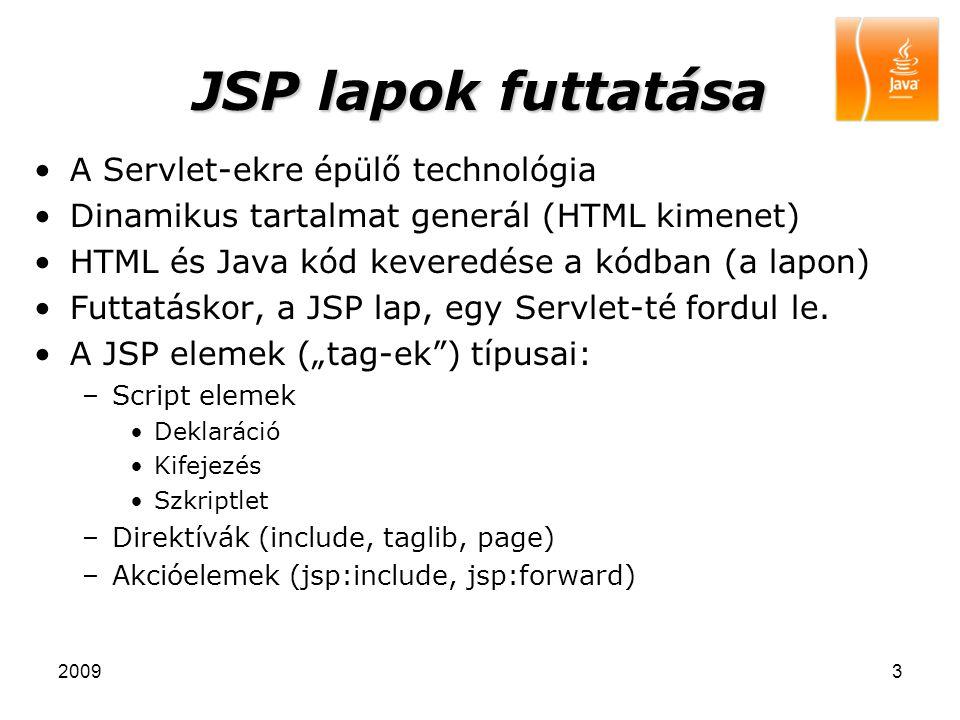 JSP lapok futtatása A Servlet-ekre épülő technológia
