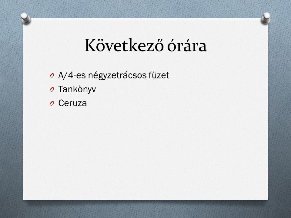 Következő órára A/4-es négyzetrácsos füzet Tankönyv Ceruza