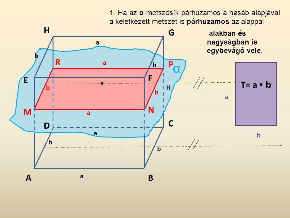 1. Ha az α metszősík párhuzamos a hasáb alapjával a keletkezett metszet is párhuzamos az alappal
