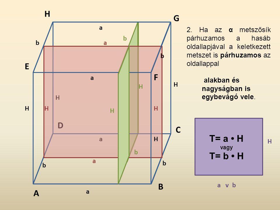 H G. a. 2. Ha az α metszősík párhuzamos a hasáb oldallapjával a keletkezett metszet is párhuzamos az oldallappal.