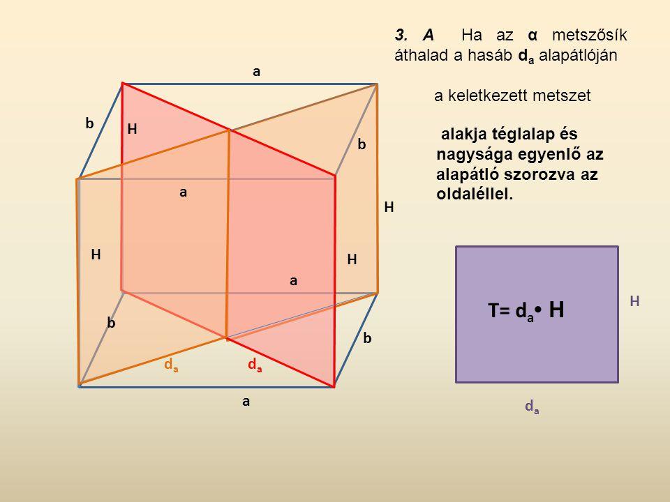 T= da• H 3. A Ha az α metszősík áthalad a hasáb da alapátlóján