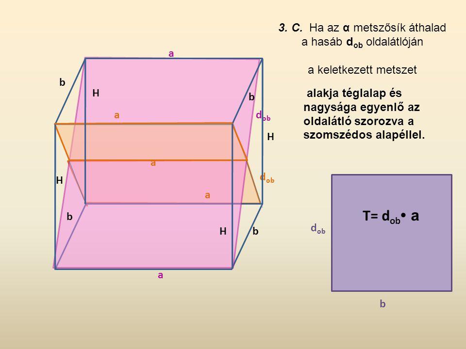 3. C. Ha az α metszősík áthalad a hasáb dob oldalátlóján
