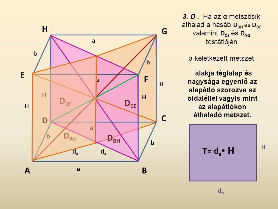 3. D . Ha az α metszősík áthalad a hasáb DBH és DDF