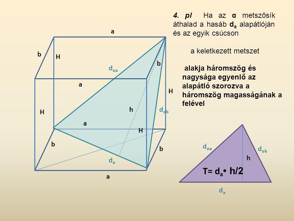 4. pl Ha az α metszősík áthalad a hasáb da alapátlóján és az egyik csúcson