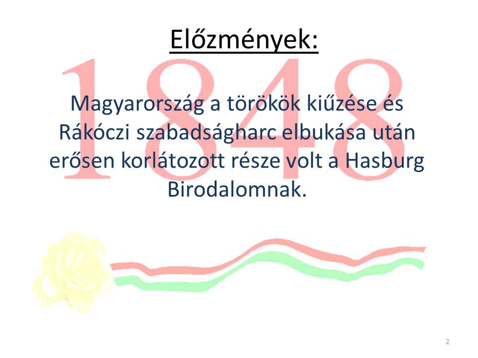 Előzmények: Magyarország a törökök kiűzése és Rákóczi szabadságharc elbukása után erősen korlátozott része volt a Hasburg Birodalomnak.