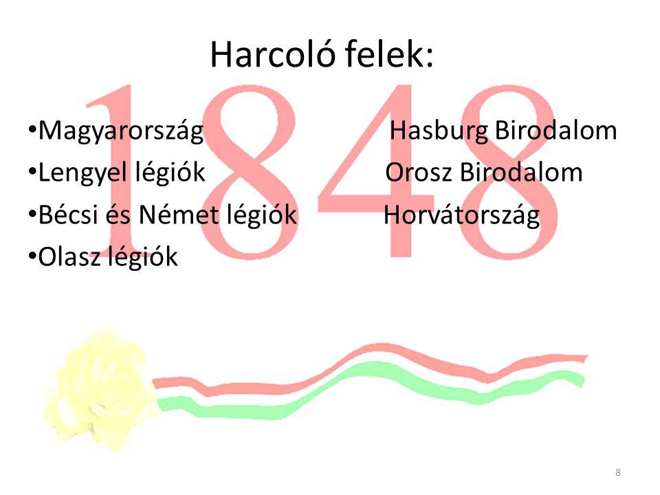 Harcoló felek: Magyarország Hasburg Birodalom