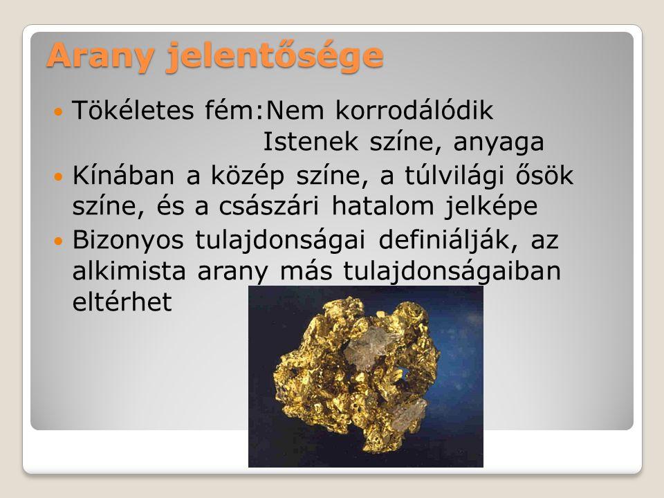 Arany jelentősége Tökéletes fém:Nem korrodálódik Istenek színe, anyaga