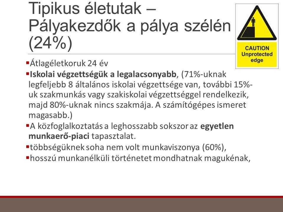 Tipikus életutak – Pályakezdők a pálya szélén (24%)
