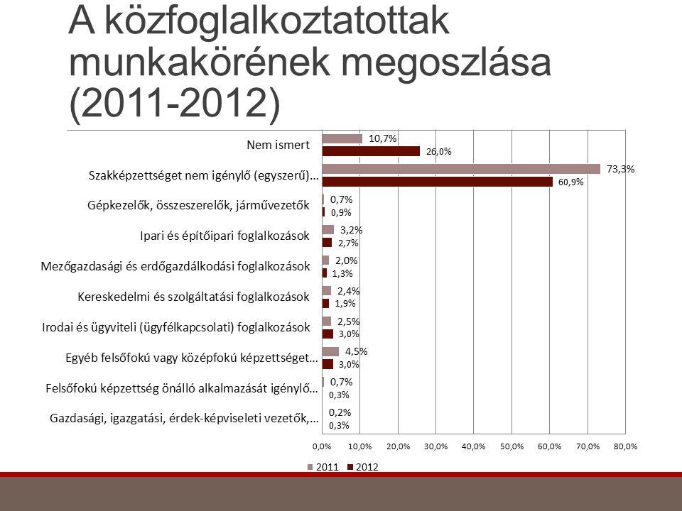 A közfoglalkoztatottak munkakörének megoszlása (2011-2012)