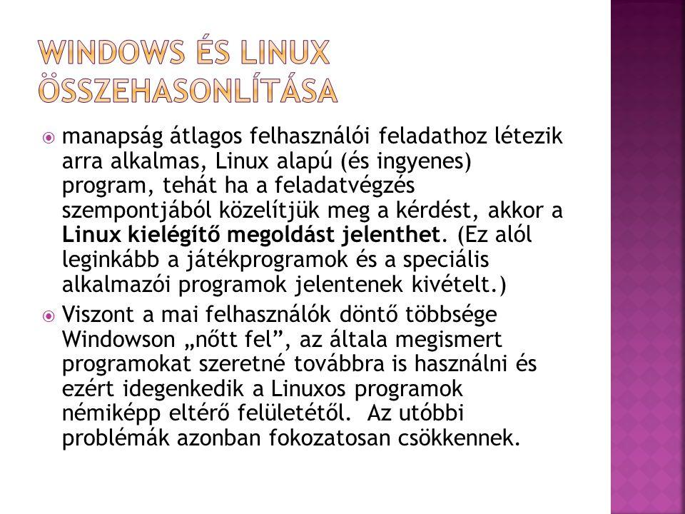 Windows és Linux összehasonlítása