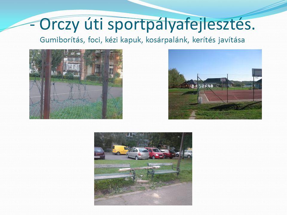 - Orczy úti sportpályafejlesztés