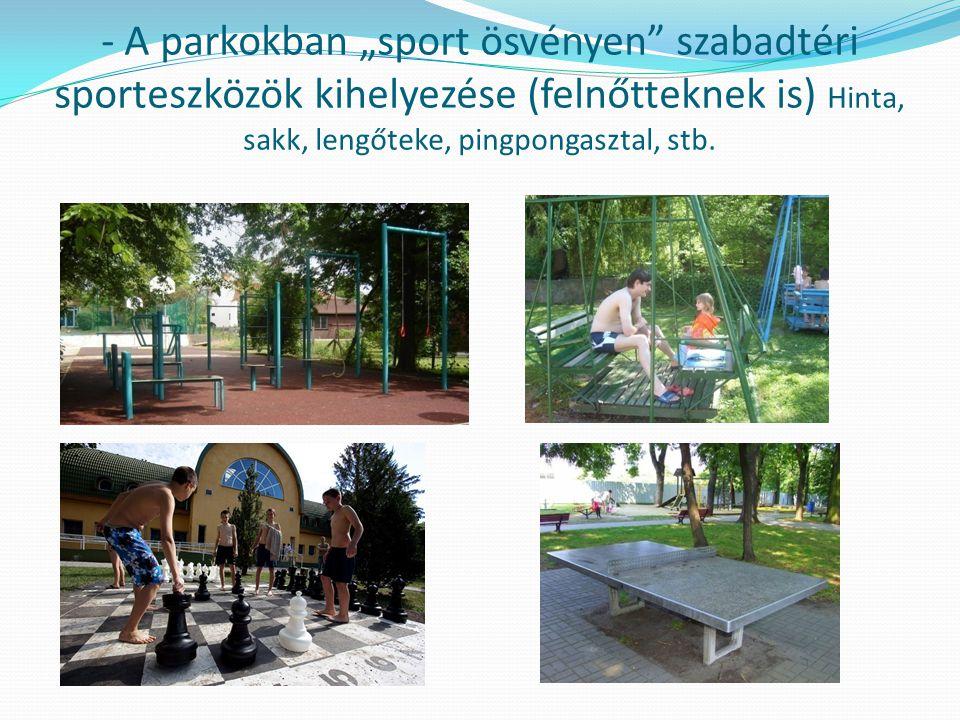 """- A parkokban """"sport ösvényen szabadtéri sporteszközök kihelyezése (felnőtteknek is) Hinta, sakk, lengőteke, pingpongasztal, stb."""