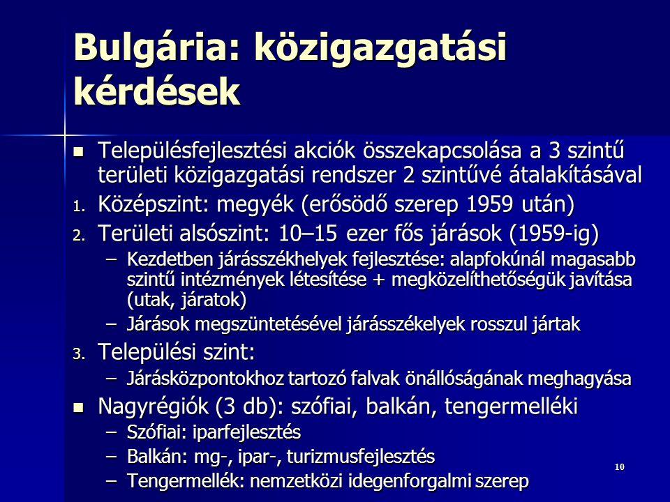 Bulgária: közigazgatási kérdések