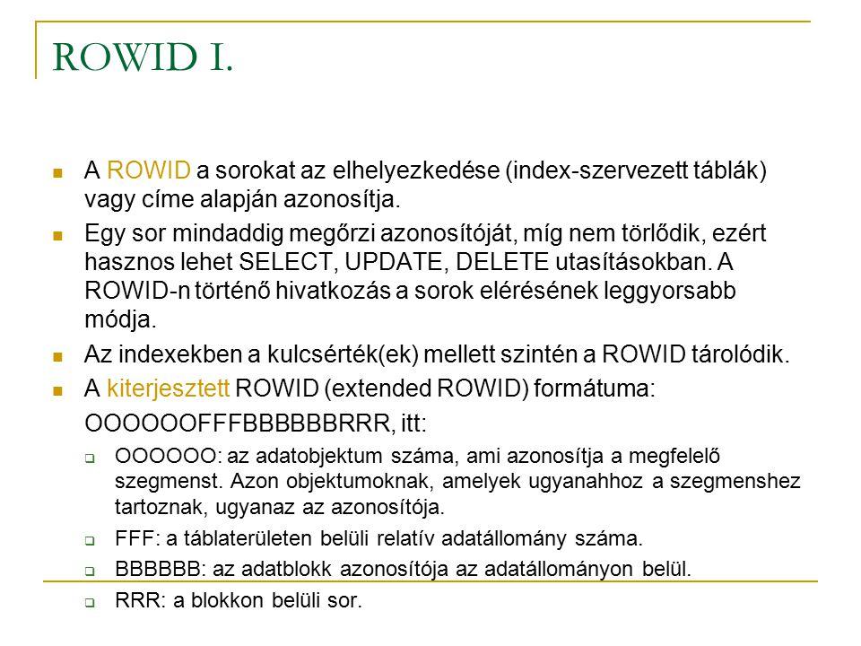 ROWID I. A ROWID a sorokat az elhelyezkedése (index-szervezett táblák) vagy címe alapján azonosítja.