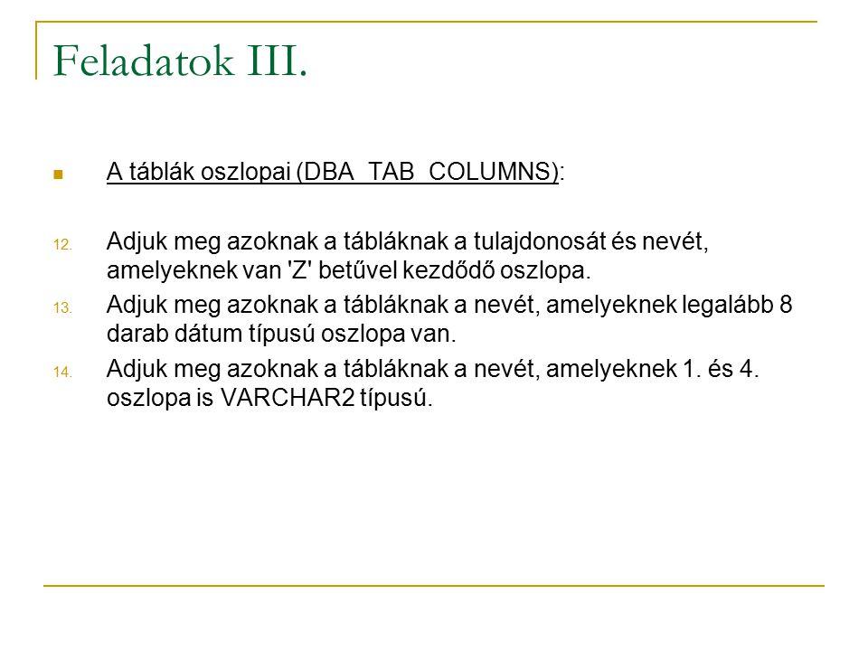 Feladatok III. A táblák oszlopai (DBA_TAB_COLUMNS):